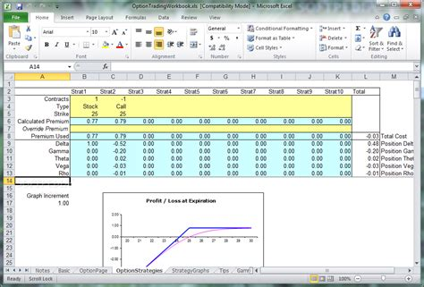 Options Trading Spreadsheet by Option Trading Workbook