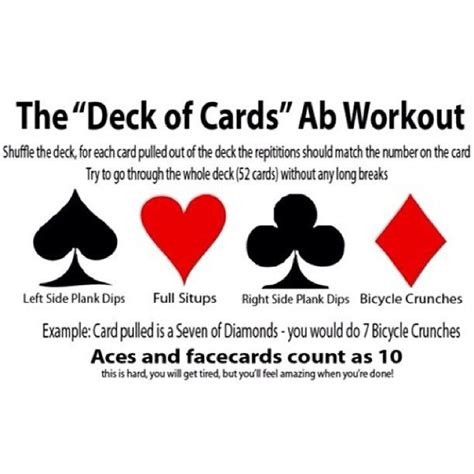 printable deck of cards workout printable deck of cards workout infocard co