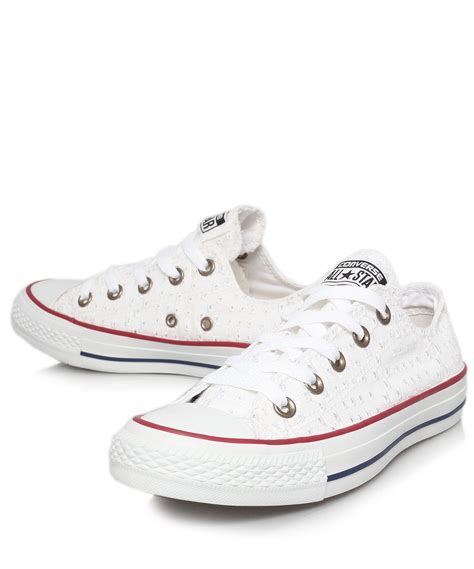 white pattern converse converse white eyelet print chuck taylor trainers in white