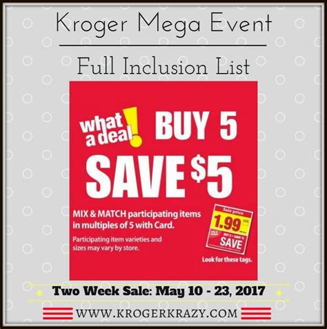 here it is kroger s full inclusions list for their buy 6 kellogg s special k bars only 1 49 with kroger mega event