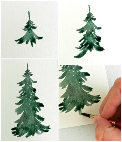 tutorial watercolor trees watercolor pine trees tutorial how to paint a wintery