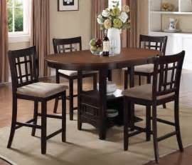 Storage counter height dining table with extension amp 4 side chairs