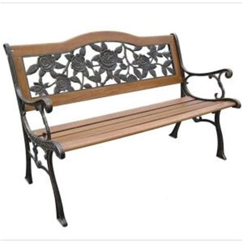 park benches home depot parkland heritage rose resin back patio park bench