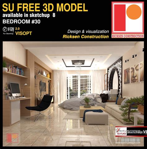 sketchup model modern bedroom  vray visopt