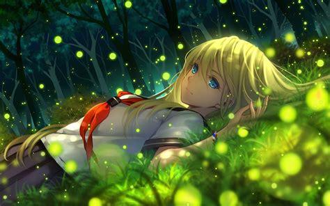 anime anime girls grass wallpapers hd desktop