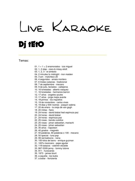 lista flavio completo 23 02 04 scribd lista karaoke