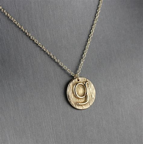 initial necklace custom letter necklace in gold bronze