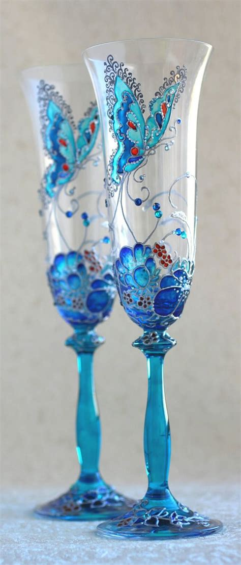 bicchieri da chagne chagne glasses blue silver decorated with swarovski