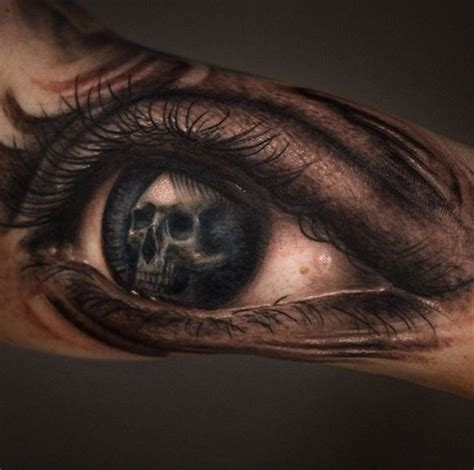 eye tattoo with skull accurate painted colored woman eye tattoo stylized with
