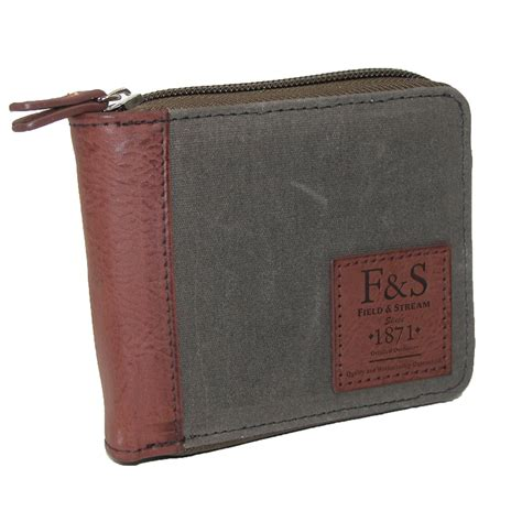 Zip Around Canvas Wallet mens field and rfid protected distressed canvas zip