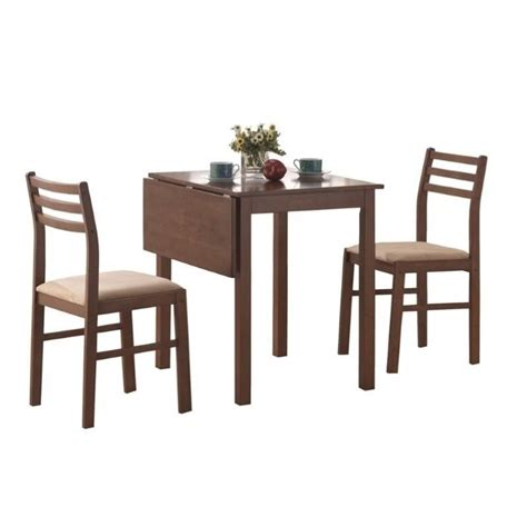 Dining Set With Leaf 3 Solid Top Drop Leaf Dining Set In Walnut I 1079