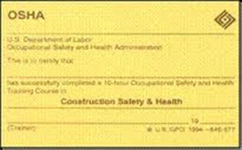 Osha 30 Card Template 28 Images Sle Osha 10 Hour Card Osha 10 Card Template