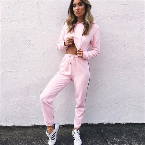 Aimi Top Set Pink s tracksuits 2 set pink crop top and fashion 2018 autumn casual
