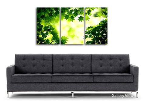 Wall Sticker Green Maple Leaves Ay 9145 Uk 60 Cm X 90 Cm green maple leaves flowers 3 panel canvas 3 panel set canvas