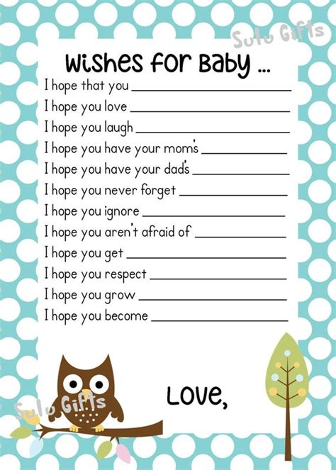 baby wishes card free template sale baby boy baby owl shower wishes for baby advice