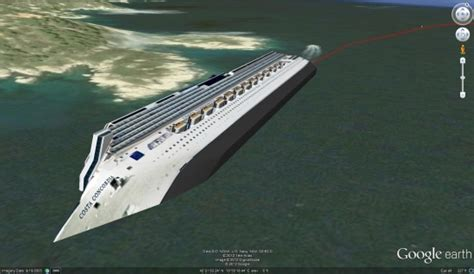 boat simulator google earth satellite imagery and 3d model of the cruise ship costa