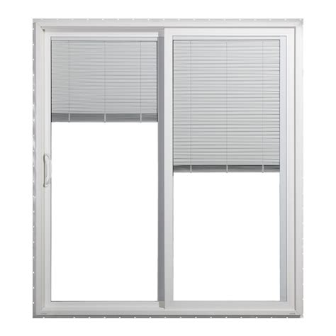Patio Doors With Blinds Inside Glass Shop Jeld Wen 71 5 In Blinds Between The Glass Vinyl Sliding Patio Door With Screen At Lowes