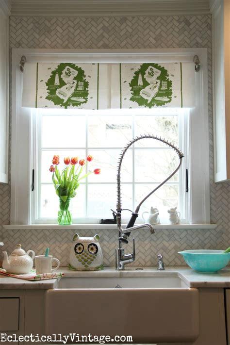 diy kitchen window treatments diy dish towel window treatment brighten up your view