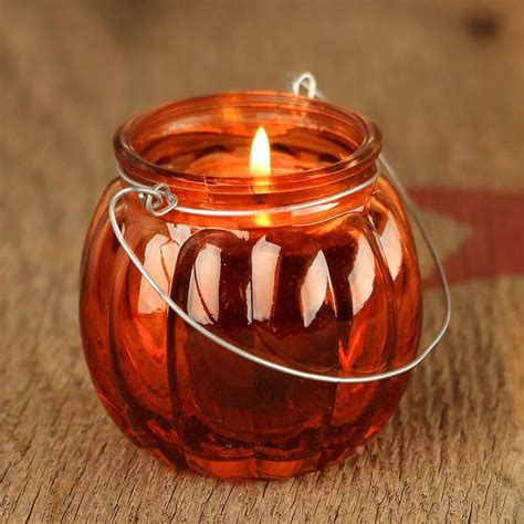 Pumpkin Candle Glass Pumpkin Candle Holder Candles And Accessories