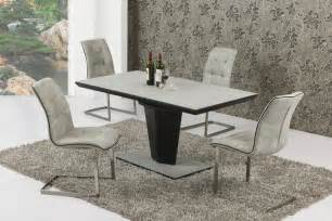 Extendable Glass Dining Table And 6 Chairs Extending Large Grey Effect Glass Dining Table And 6 Chairs
