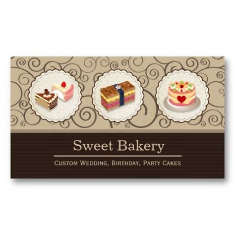cake business card template custom wedding birthday cakes pastry bakery business