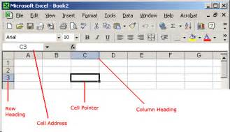 Parts Of An Excel Spreadsheet Excel Xp Identifying Basic Parts Of The Excel Window