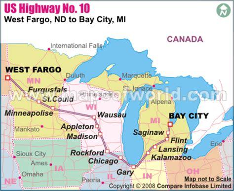 map of us highway 10 us highway no 10 west fargo nd to bay city mi