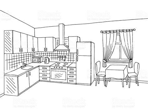 kitchen room interior black white graphic sketch illustration vector stock vector more
