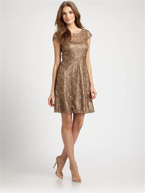 dresses for unger sequined lace dress in gold bronze lyst