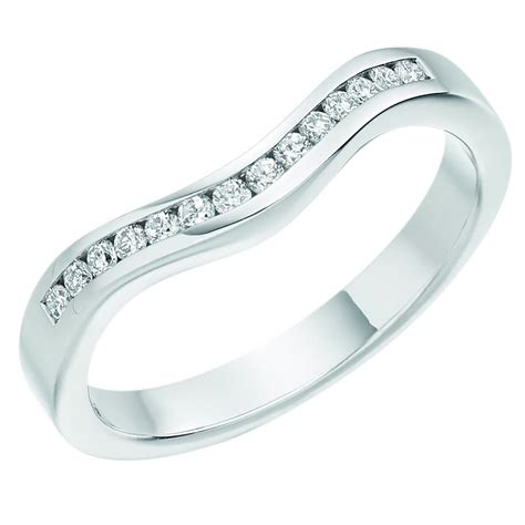 18ct white gold curved wedding band 18ct