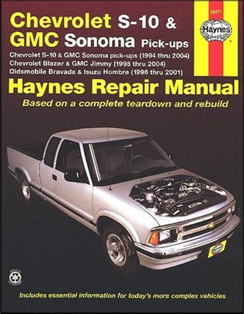 chevy s10 sonoma blazer jimmy bravada repair manual 1994 2004