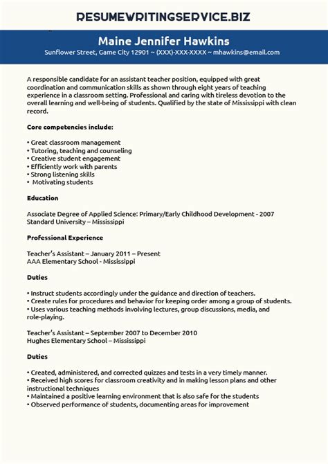 Teachers Assistant Resume by Teaching Assistant Resume Sle Resume Writing Service