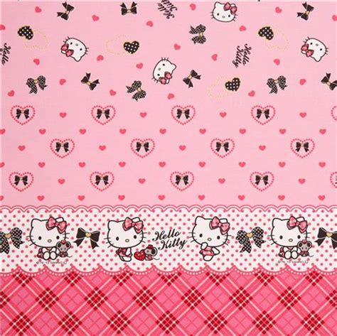 wallpaper hello kitty ribbon pink hello kitty stripes hearts ribbon gold oxford fabric