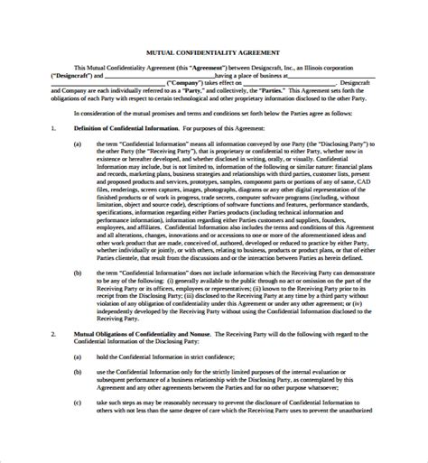 standard confidentiality agreement template sle confidentiality agreement 7 free
