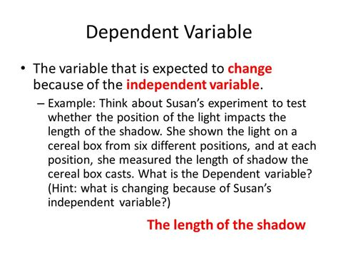 exle of dependent variable scientific method ppt