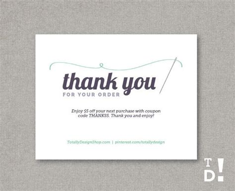 Card Template Buy by Thank You For Your Order Template Instant