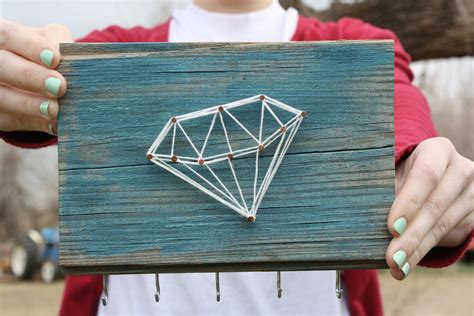 Wood And String - reclaimed wood with string jewelry organizer