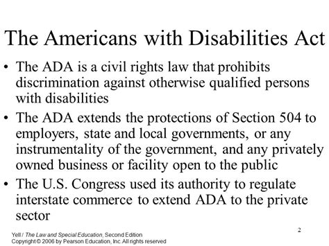 section 504 of the ada the americans with disabilities act ppt download