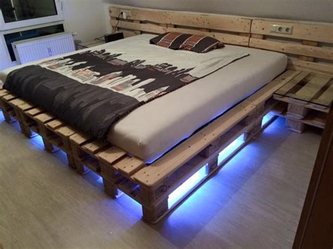 Wood Pallet Bed Frame With Lights Sophisticated Pallet Wood Creations Pallet Ideas