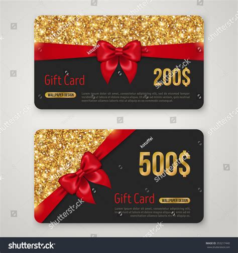 Gift Card Layout - royalty free gift card design with gold glitter 353217440 stock photo avopix com