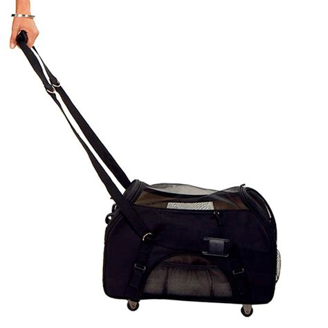 rolling carrier designer wheeled comfort airline approved carrier black for pets cross peak products