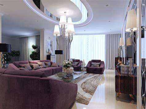 luxury living room with purple furniture and modern decor european style villa interior design