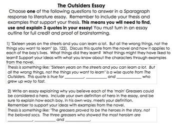 Essay Topics For The Outsiders by The Outsiders Essay Outline Response To Literature Essay Tpt