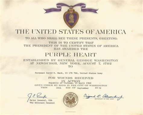 sfc david hack s purple heart certificate sgt hack