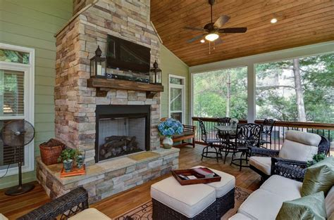 screened porch addition with fireplace outdoor spaces