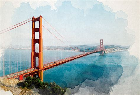 100 paint color of golden gate bridge san francisco california city skyline with golden