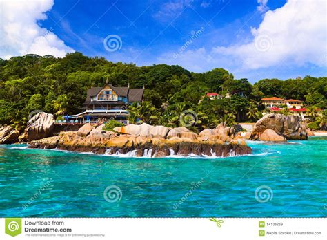 Vacation Cottage Plans hotel at tropical beach la digue seychelles royalty free
