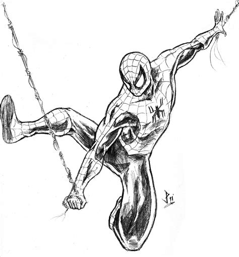 how to draw spiderman swinging spider man warm up sketch the scribble board