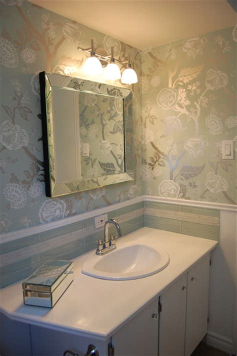 houzz wallpaper bathroom wallpaper in powder room