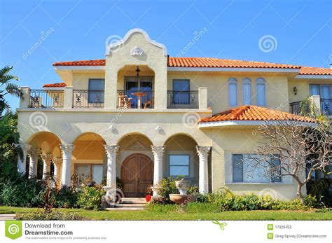 Waterfront House Designs by Spanish Style Waterfront Home Stock Photography Image